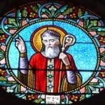 aint Front, vitrail du chœur de l'église Saint-Pierre-ès-Liens, Lalinde, Dordogne, France.